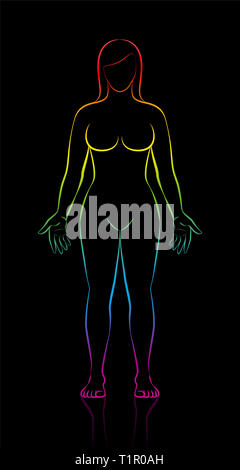 Female body shape of young woman with long hair. Rainbow gradient colored silhouette - illustration on black background. - Stock Photo