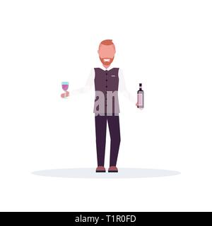 smiling bartender holding wine bottle and glass barman in uniform at work male cartoon character standing pose full length white background - Stock Photo