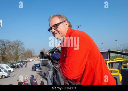 Aylesbury, United Kingdom. 28 March 2019. The pro Brexit campaign 'March for Leave' sets off from Aylesbury led by Leave Means Leave chairman John Longworth. PICTURED: Leave Means Leave chairman John Longworth.  Credit: Peter Manning/Alamy Live News - Stock Photo