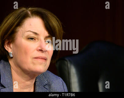 """Washington, United States Of America. 27th Mar, 2019. United States Senator Amy Klobuchar (Democrat of Minnesota) questions witnesses as they testify before the US Senate Committee on Commerce, Science, and Transportation Subcommittee on Aviation and Space, during a hearing titled, """"The State of Airline Safety: Federal Oversight of Commercial Aviation' to examine problems with the Boeing 737 Max aircraft highlighted by the two recent fatal accidents. Credit: Ron Sachs/CNP 