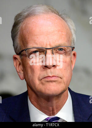 Washington, United States Of America. 27th Mar, 2019. United States Senator Jerry Moran (Democrat of Kansas) listens to the testimony before the US Senate Committee on Commerce, Science, and Transportation Subcommittee on Aviation and Space, during a hearing titled, 'The State of Airline Safety: Federal Oversight of Commercial Aviation' to examine problems with the Boeing 737 Max aircraft highlighted by the two recent fatal accidents. Credit: Ron Sachs/CNP | usage worldwide Credit: dpa/Alamy Live News - Stock Photo