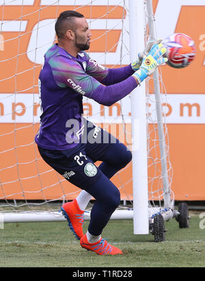 SÃO PAULO, SP - 28.03.2019: TREINO DO PALMEIRAS - Goalkeeper Weverton, from SE Palmeiras, during training, at the Football Academy. (Photo: Cesar Greco/Fotoarena) - Stock Photo