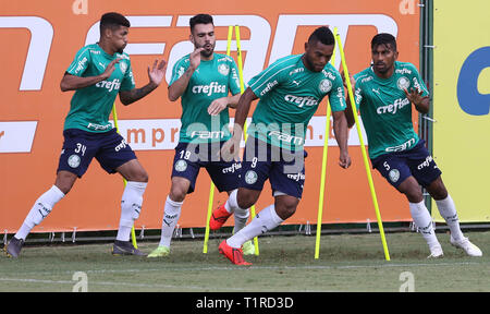 SÃO PAULO, SP - 28.03.2019: TREINO DO PALMEIRAS - The player Borja, from SE Palmeiras, during training, at the Football Academy. (Photo: Cesar Greco/Fotoarena) - Stock Photo
