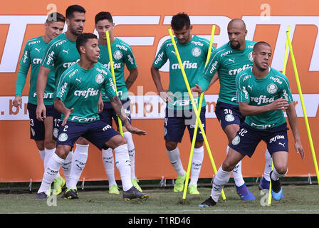 SÃO PAULO, SP - 28.03.2019: TREINO DO PALMEIRAS - The player Mayke, of the SE Palmeiras, during training, in the Soccer Academy. (Photo: Cesar Greco/Fotoarena) - Stock Photo