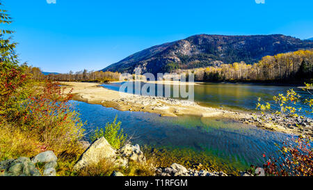 Fall colors along the North Thompson River between the towns of Clearwater and Little Fort in Beautiful British Columbia, Canada