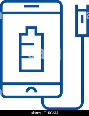 Phone charging line icon concept. Phone charging flat  vector symbol, sign, outline illustration. - Stock Photo