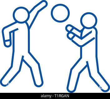 Playing basketball line icon concept. Playing basketball flat  vector symbol, sign, outline illustration. - Stock Photo
