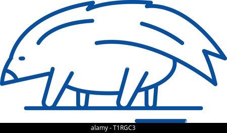Porcupine line icon concept. Porcupine flat  vector symbol, sign, outline illustration. - Stock Photo
