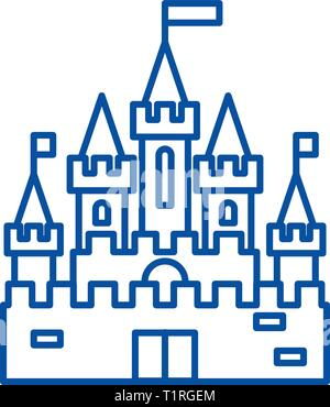 Princess castle line icon concept. Princess castle flat  vector symbol, sign, outline illustration. - Stock Photo