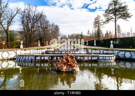 Oct 2018 - La Granja de San Ildefonso, Segovia, Spain - Fuente de Anfitrite in the gardens of la Granja in Winter. The Royal Palace and its gardens we - Stock Photo