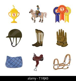 Vector design of horseback and equestrian sign. Set of horseback and horse  vector icon for stock. - Stock Photo
