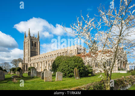 Holy Trinity Church at spring time, in the village of Long Melford, Suffolk, East Anglia, UK. - Stock Photo