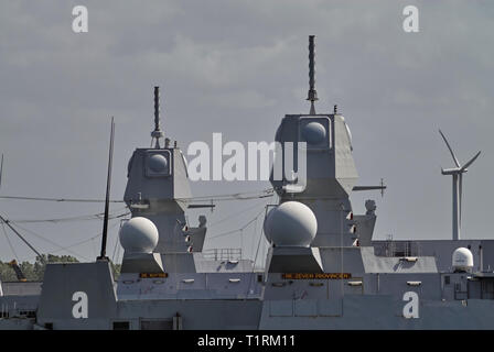 Details of the Weapon systems on 2 Dtch Naval Frigates moored up in Den Header Port in May. De Ruyter and De Seven Provinicien Warships. - Stock Photo