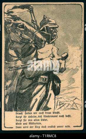 Germany, Hamburg, Altona, WW I, patriotic postcard ' Altona´s day for the victims on the 18. 01. 1916 to the best of the war help of Altona ' with an drawing of an soldier and a horse together with a poem  ' Drauß halten wir euch treue Wacht... ', artists are unknown., Additional-Rights-Clearance-Info-Not-Available