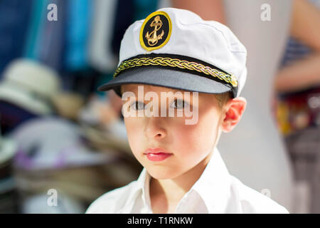 Little boy in a sailor hat - Stock Photo
