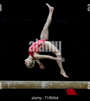 22.03.2019. Resorts World Arena, Birmingham, England. The Gymnastics World Cup 2019 Riley McCusker (USA) during the Womens training session. - Stock Photo