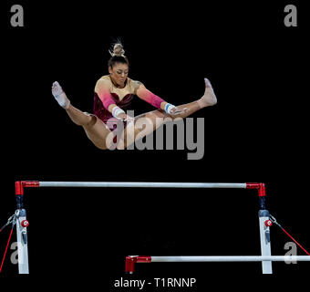 22.03.2019. Resorts World Arena, Birmingham, England. The Gymnastics World Cup 2019 Elissa Ellie Downie (GBR) during the Womens uneven bars with a sco - Stock Photo
