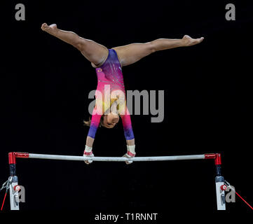22.03.2019. Resorts World Arena, Birmingham, England. The Gymnastics World Cup 2019 THAIS FIDELISN (BRA) during the Womens uneven bars with a score of - Stock Photo