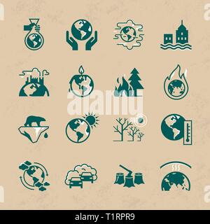 Different variants of environmental icons in flat style isolated on white background. Set of vector icons on the theme of ecology, global warming and  - Stock Photo