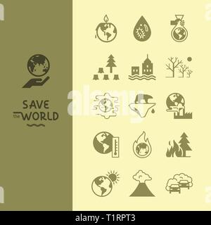 Set of vector icons on the theme of global warming of our planet as a whole. - Stock Photo