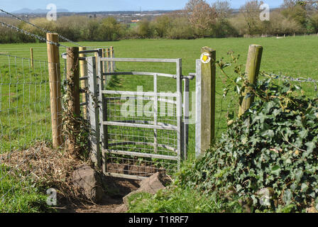 A kissing gate on a public footpath in Shropshire - Stock Photo
