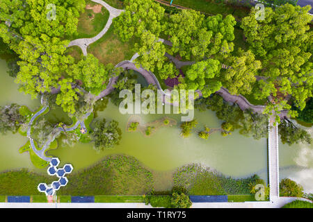 Aalternative perspective aerial view of Toa Payoh Town Park in Singapore. - Stock Photo