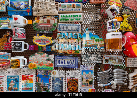 Fridge magnets on sale as souvenirs, Malaga, Andalusia Spain Europe - Stock Photo