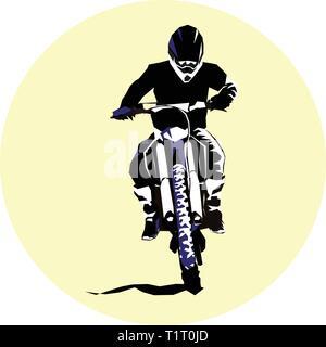 Racer and sport motocross bike vector icon - Stock Photo