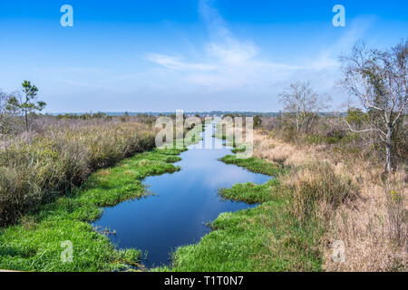 A narrow stream of water in Gulf Shores, Alabama - Stock Photo