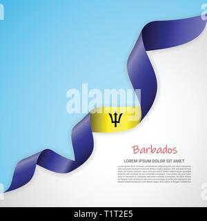 Vector banner in white and blue colors and waving ribbon with flag of Barbados. Template for poster design, brochures, printed materials, logos - Stock Photo