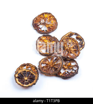 Dried quince isolated on white background, dried fruit, ingredient - Stock Photo