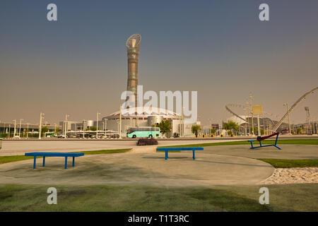 DOHA, QATAR – AUGUST 20, 2013: Aspire Zone public outdoor gym in Doha Qatar - Stock Photo