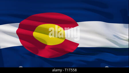 Colorado flag on fabric texture, 3d realistic illustration covers whole frame. High quality, good detalisation - Stock Photo