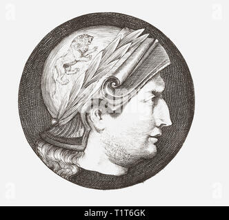Alexander III of Macedon, 356 BC – 323 BC, aka Alexander the Great. King of the ancient Greek kingdom of Macedon and member of the Argead dynasty.  An imaginary portrait. - Stock Photo
