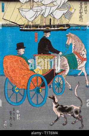 A tourist takes a horse and cart ride around the harbour of Yokohoma, Japan.  After a print by Japanese artist Utagawa Sadahide, 1807-1878/79, aka Gountei Sadahide. - Stock Photo