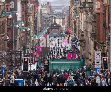 View along busy Buchanan Street the main shopping street in Glasgow, Scotland, UK - Stock Photo