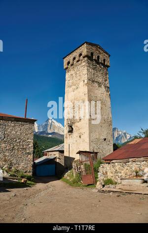 Stone medieval Svaneti tower houses of Lashtkhveri village in the Caucasus mountains, Upper Svaneti, Samegrelo-Zemo Svaneti, Mestia, Georgia.  A UNESC - Stock Photo