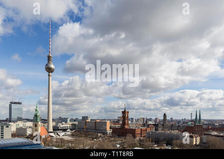 St. Marienkirche, Fernsehturm TV Tower, Rotes Rathaus and other landmarks and buildings at the downtown Berlin, Germany, on a sunny day in March. - Stock Photo