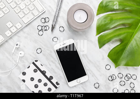 Home office workspace with a modern feel. Flat lay composition on marble background. - Stock Photo