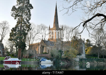 Holy Trinity Church,  Burial Place of William Shakespeare, on the River Avon in Stratford upon Avon, Warwickshire, on March 28th 2019. - Stock Photo