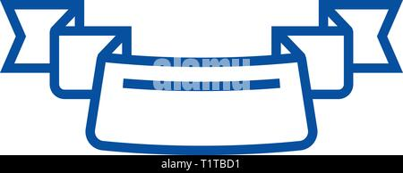 Ribbon with 3 corners line icon concept. Ribbon with 3 corners flat  vector symbol, sign, outline illustration. - Stock Photo