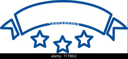 Ribbon with stars line icon concept. Ribbon with stars flat  vector symbol, sign, outline illustration. - Stock Photo