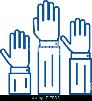 Rights,three hands up  line icon concept. Rights,three hands up  flat  vector symbol, sign, outline illustration. - Stock Photo