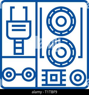 Robot industrial kits line icon concept. Robot industrial kits flat  vector symbol, sign, outline illustration. - Stock Photo