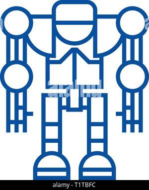 Robot,droid line icon concept. Robot,droid flat  vector symbol, sign, outline illustration. - Stock Photo