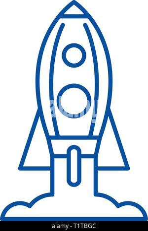 Rocket launch line icon concept. Rocket launch flat  vector symbol, sign, outline illustration. - Stock Photo