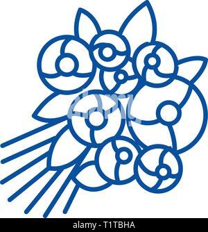 Rose bouquet line icon concept. Rose bouquet flat  vector symbol, sign, outline illustration. - Stock Photo