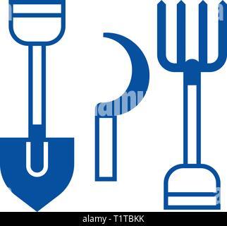 Rural tools,shovel, hayfork, reaping hook line icon concept. Rural tools,shovel, hayfork, reaping hook flat vector symbol, sign, outline illustration - Stock Photo