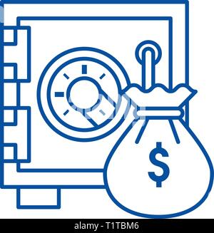 Safe bank with money bag line icon concept. Safe bank with money bag flat  vector symbol, sign, outline illustration. - Stock Photo