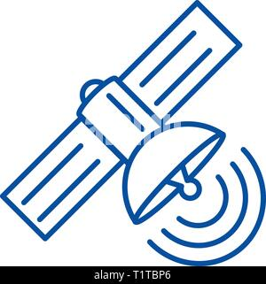Satellite line icon concept. Satellite flat  vector symbol, sign, outline illustration. - Stock Photo